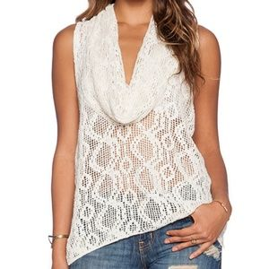 """Free People """"Just Like That"""" Lace Cowl Tank Top S"""